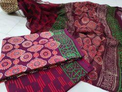Rouge chiffon dupatta suit with salwar kameez set
