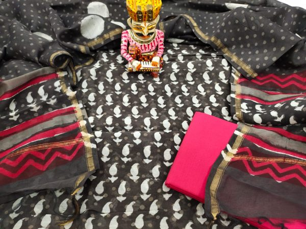 taupe and pink chanderi suit with slawar