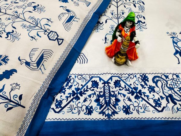 Blue and white bird print Cotton double bedsheet with two pillow cover