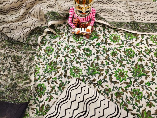 White floral print Cotton suit with kota doria dupatta set