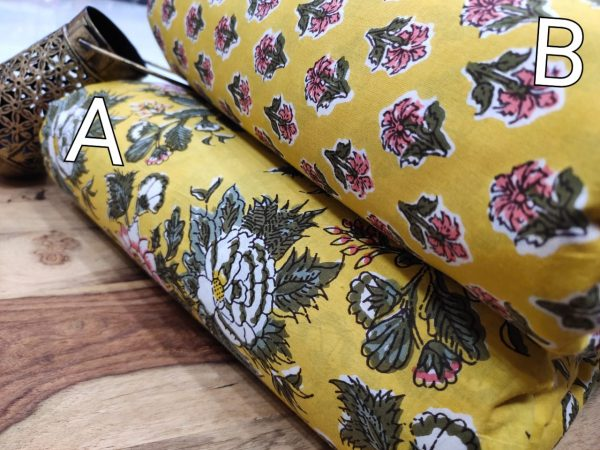 Yellow floral print pure cotton running material