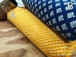 Yellow and blue pigment print pure cotton running Material set