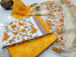 Natural yellow and white pure cottton suit set with chiffon dupatta
