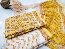 Exclusive Yellow and white pure cottton suit set with chiffon dupatta