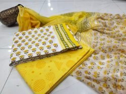Beautiful yellow and white pure cottton suit set with chiffon dupatta