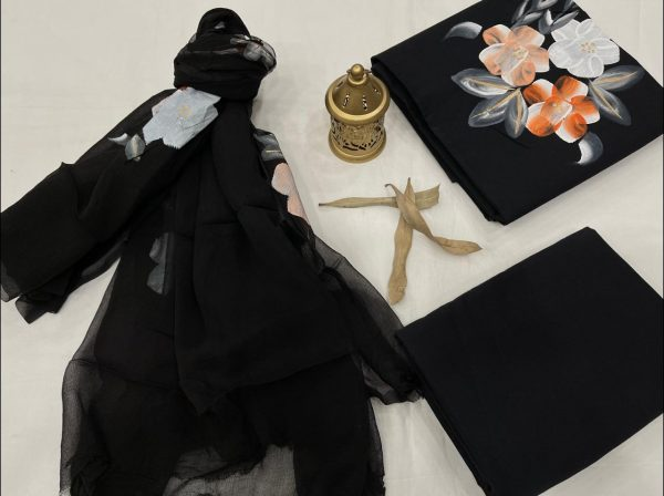 Black hand painted suit material with chiffon dupatta