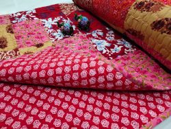 Crimson and pink floral print Hand stitched AC Quilt (Dohar) Patch work