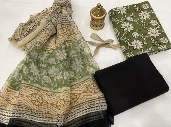 Dark Olive Green cotton suits with pure chiffon dupatta wholesale