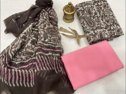 Taupe Gary and Pink cotton suits with chiffon dupatta