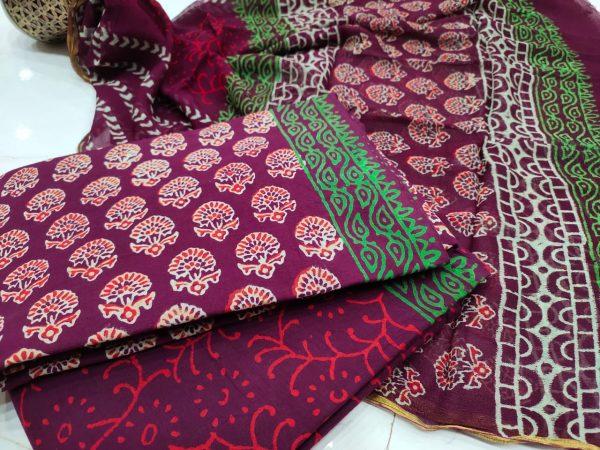 Traditional Rouge floral print zari border cotton suit set