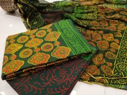 Superior quality Green zari border cotton suit set