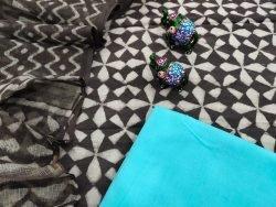 Cyan and taupe cotton suit with kota doria dupatta set