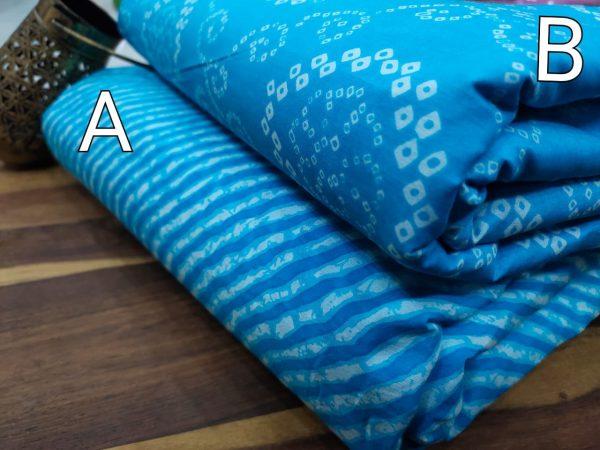 Azure blue pure cotton running dress material set