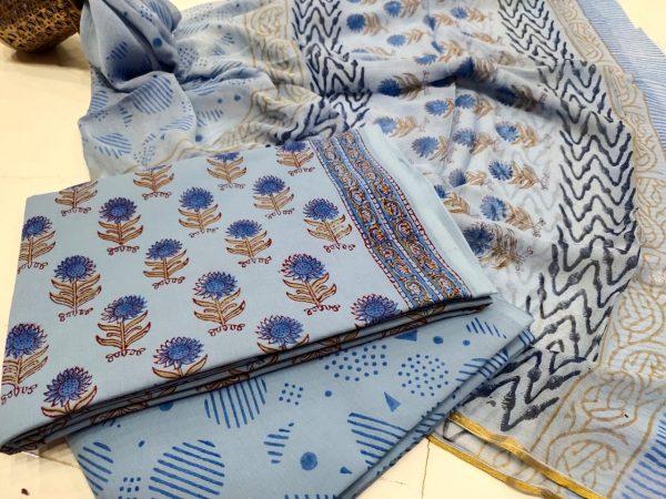 Exclusive baby blue floral print Zari border suit set