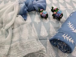 Periwinkle and blue salwar suit set with chiffon chunni