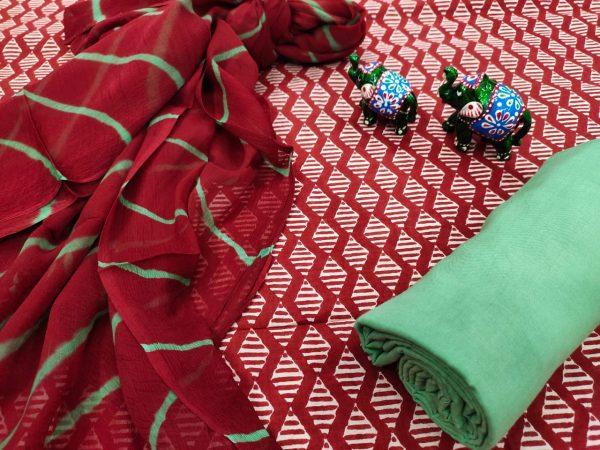 Sangria chiffon dupatta cotton suit set