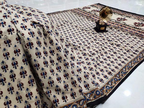 Exclusive white pigment print pure cotton saree