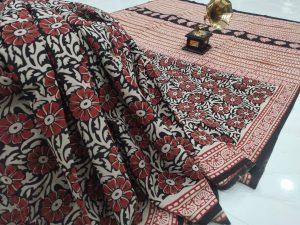 Beautiful carmine floral print pure cotton saree