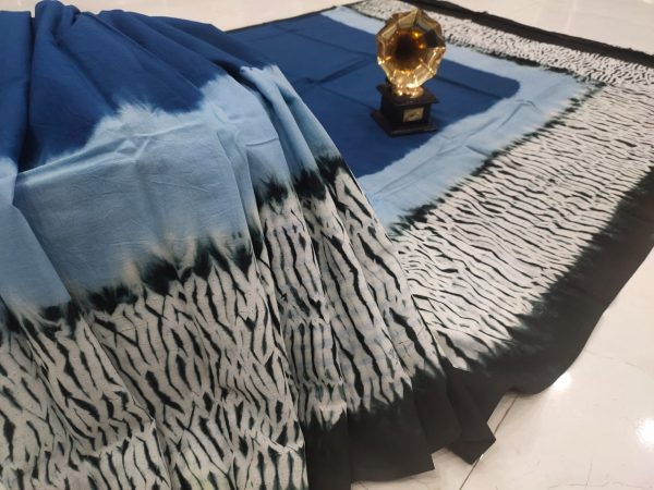 Exclusive blue and black pure cotton saree