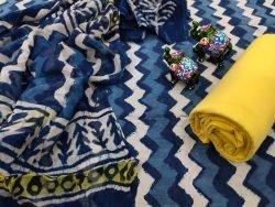 blue zigzag print cotton suit with chiffon dupatta