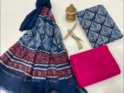 Blue cotton suit pure Chiffon dupatta