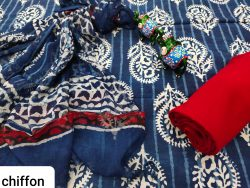Persian blue pure chiffon chunni cotton salwar suit