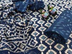blue pure cotton suit with chiffon dupatta
