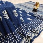 Traditional navy blue pure cotton saree