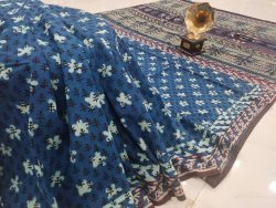 indigo blue Cotton saree with blouse
