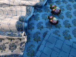 Blue and white Floral print cotton suit with kota doria dupatta set