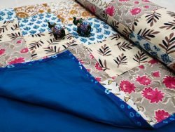 blue floral print Hand stitched AC Quilt (Dohar) Patch work