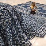 inidgo blue Cotton saree with blouse