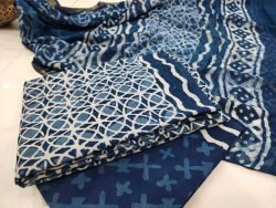 Blue zari border cotton suit Chiffon dupatta