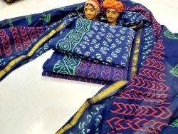 navy blue zari border cotton suit pure chiffon dupatta