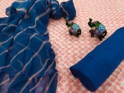 Traditional Blue and pink pure cotton chudidar set