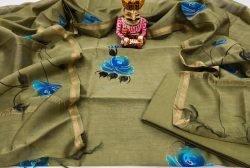 Olivetone Hand painted chanderi suit set with salwar kameez set