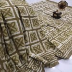 Olive bagru print Cotton saree with blouse