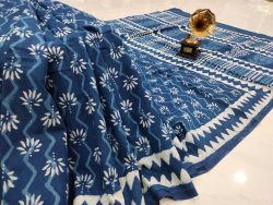 blue floral print Cotton saree with blouse