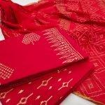 Exclusive Red crimson Zari border suit set