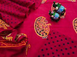 Crimson pigment print pure Cotton mulmul salwar kameez set