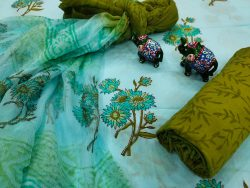 Cyan and green floral print cotton suit with chiffon dupatta set