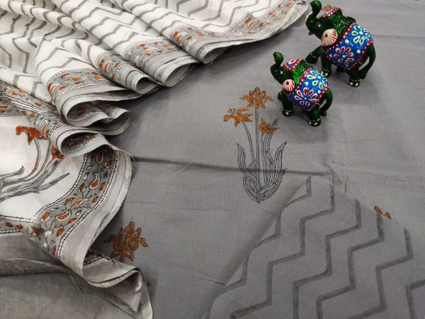 Beautiful Gray and White floral print pure mulmul dupatta suit set