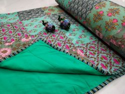 Jungle green Hand stitched AC Quilt Dohar Patch work