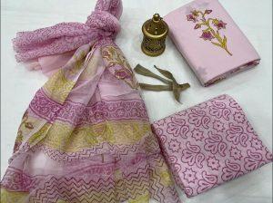Pink floral print cotton suit pure Chiffon dupatta