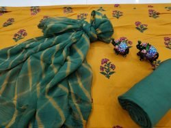 Amber and green cotton suit with chiffon dupatta set