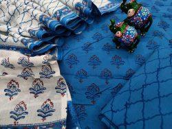 White and blue cotton mulmul dupatta suit set