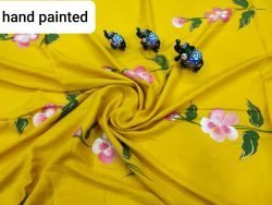 Natural Lemon floral print rayon running matreial set