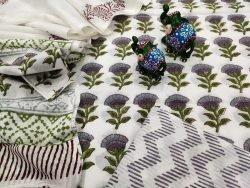 Traditional White floral print pure mulmul dupatta suit set