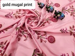 Pink floral print running fabric dress material set