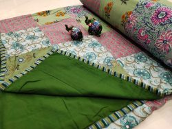 Green Hand stitched AC Quilt Dohar Patch work
